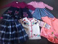 5 garments - 3 dresses, one baby grow, one Cardigan