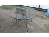 Glass/ Metal Outdoor Garden Table for Patio/ Decking