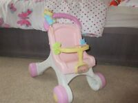 girls push chair and ride along car
