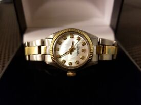 Ladies rolex oyster watch 1970's mop dial stainless steel and gold - px omega tag