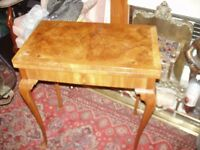 quality/1930s /burr/walnut fold/over top card /games table cross/banded/top