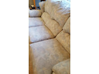3 SEATER SOFA AND 2 MANUAL RECLINING CHAIRS