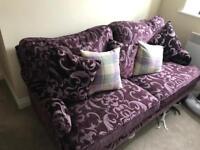 Like new 3 seater fabric sofa in purple
