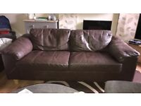 Two Brown 2 Seater Leather Sofas
