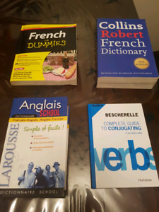 Elementary  French dictionary and verb books