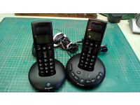 BT GRAPHITE TWIN WIRELESS PHONES BUILT IN ANSWER PHONE