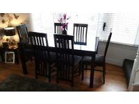 Black dining table 6 chairs