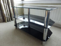 TV table glass with chrome legs