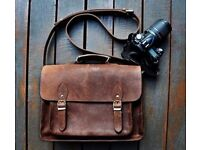 FeatherTouch Leather Camera DSLR Travel Messenger Camera Bag 15X10X6 Inches Brown
