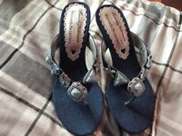 Beverly Feldman denim sandals made exclusively for Russell & Bromley size 5