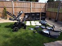 iCandy Peach Blossom 3 Olive double pram, pushchair, carseat adapters, raincovers, seat liners boxed