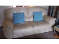 2 Leather Sofas for sale, very good condition,Beige colour.