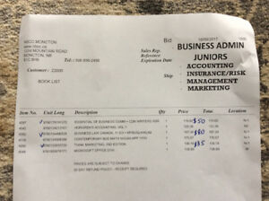 NBCC Business Administration first year books