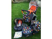 Cosatto 3-in-1 travel system pram / pushchair / car seat with accessories