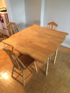 Solid Maple dining set with drop-leaf
