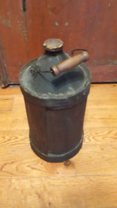Antique wood covered gas can kerosene can