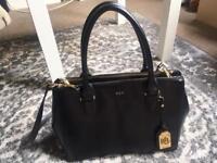 Ralph Lauren black leather handbag Newbury double zip satchel