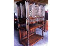 Heavily carved oak sideboard