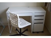 Ikea Micke desk, filling cabinet and chair