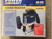 Powercraft router, router table and a packet of various router bits