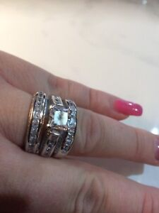 Sterling Silver Plated Bridal Set with Cubic Zirconia (NEW)