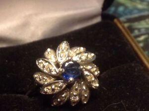 Old 14k White Gold Sapphire Marquise Diamond Cluster Gemstone Ri
