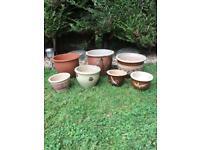 Ceramic Garden Plant Pots x 7