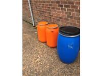 Large plastic barrels