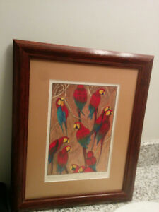 BEAUTIFUL Parrot Macaw Wall Artwork 1997 16 x 13