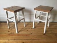 Pair of Vintage Stools with Reclaimed Pine Seats