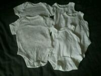 Bundle of white 3-6 baby vests for boys or girls