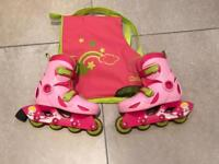 OXELO - Kids in-line skates (size 11-13 kids) & carry bag - Good Condition