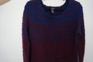 Medium purple maroon blue crop sweater forever 21
