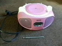 Pink PHILIPS Stereo Player (CD Player / Radio)
