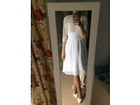 New white wedding dress, knee leanght, size S