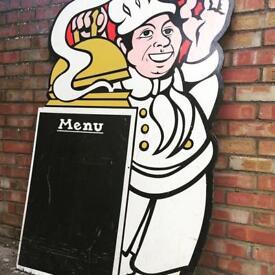 Large vintage cook chef restaurant menu board