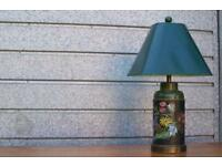 Vintage Hand Painted Tea Caddy Lamp 1930s Country Cottage