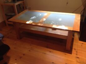 Solid oak coffee table with glass insert