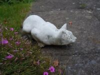 """GARDEN ORNAMENT PROWLING WHITE CAT, COMPOSITE STONE, WEATHERED L: 14"""""""