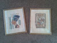 Framed Egyptian Paintings on Papyrus.