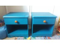 2x painted pine bedside tables
