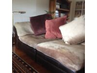 Lounge suite (leather base with fabric cushions)