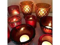 15 Assorted Glass Tea Light Holders