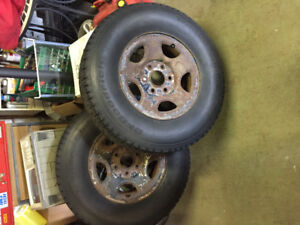 Chevy 2 WD truck rear 6 bolt winter tires with steel rims.