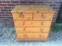 Solid pine chest of drawers. Bottom drawer extra deep. Matching units listed