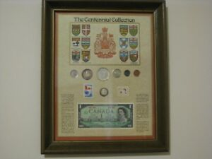 Coin set - Canadian Centennial, framed