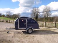 Teardrop mini micro retro caravan for sale complete with upholstered mattress, awning & spare wheel