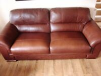 Two Superb leather Sofas ex Shottons in brown tan