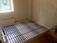 """Standard Double Bed White Metal Frame + Birch Slats - 10 months old (""""Like New"""" Condition)"""