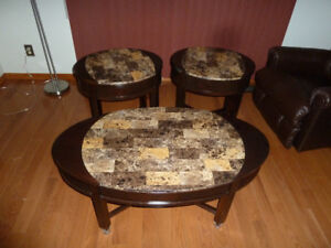 Solid wood coffee table with 2 oval side table set